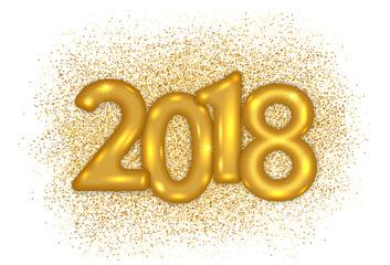 2018 gold text design on glitter splash background. Vector illustration.