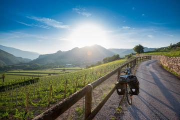 Touring bike on Via Claudia Augusta near Trento, Italy Fototapete