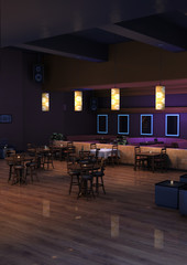 3D Rendering Lounge Bar Interior