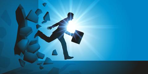 Homme d'affaires - obstacle - mur - leadership - motivation - succès - réussite