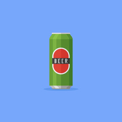 Aluminum beer can isolated on blue background. Flat style icon. Vector illustration.