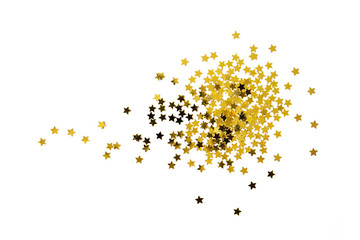 Pile of gold star splash isolated on white background on top view object design decoration christmas happy new year holiday