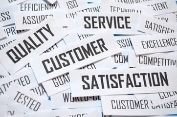 QUALITY SERVICE CUSTOMER SATISFACTION Paper Clippings Tag Cloud