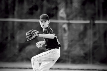 Pitcher Winding Up at Youth Baseball Game