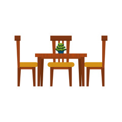 dining table with chairs  frontview furniture icon image vector illustration design