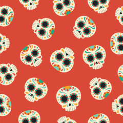 Day of the dead traditional sugar skull pattern