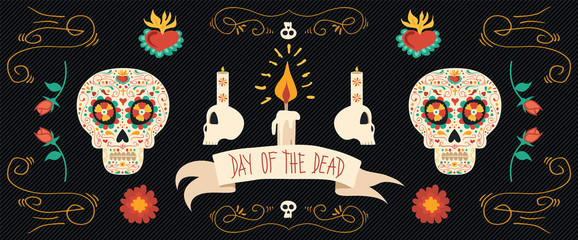 Day of the dead hand drawn sugar skull banner art