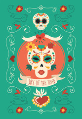 Day of the dead hand drawn catrina sugar skull art