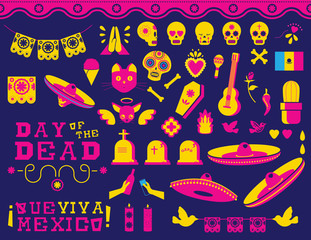 Happy Day of the dead traditional mexican icon set