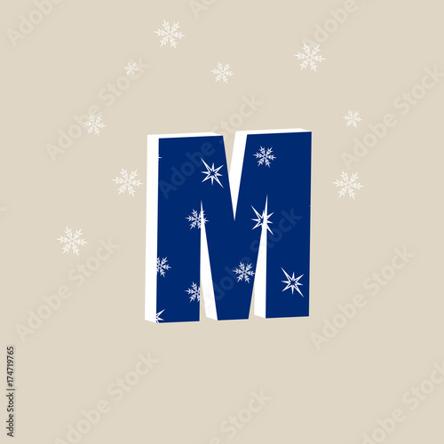 Colorful letter M with snowflake  Stylish vector icon