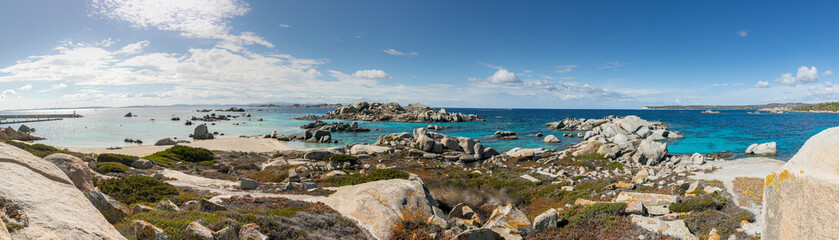 Panoramic view of coastline and at Cavallo island near Corsica