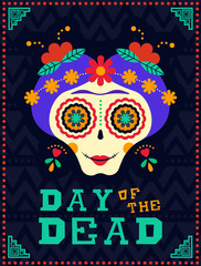 Happy day of the dead catrina sugar skull skeleton