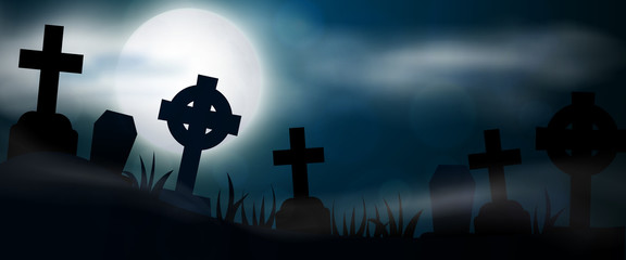 Night cemetery, crosses, tombstones and graves horizontal banner. Colorful scary Halloween illustration. Vector