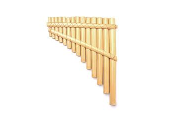Ethnic Peruvian flute isolated on white background