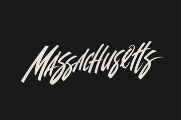 Massachusetts City USA State Word Logo Name Hand Painted Brush Lettering Calligraphy Logo Template