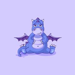 Vector Emoji character cartoon dragon dinosaur sad and frustrated sticker emoticon