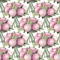 abstract floral pattern with pink roses