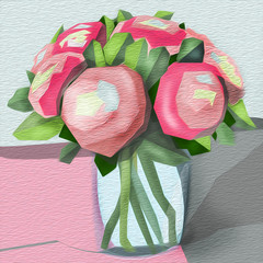 abstract picture vase with pion flowers
