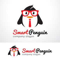 Smart Penguin Logo Template Design Vector, Emblem, Design Concept, Creative Symbol, Icon
