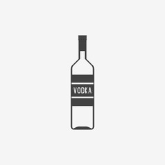 Classic bottle of vodka monochrome icon. Vector illustration.