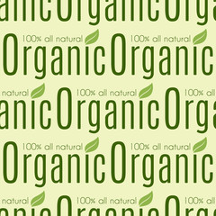 Bio farm organic eco healthy food seamless pattern vintage vegan green color package vector illustration.