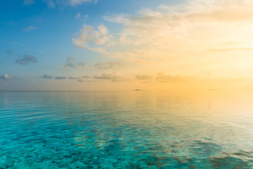 Sunset. Colors of sunset over the  Maldives Islands.