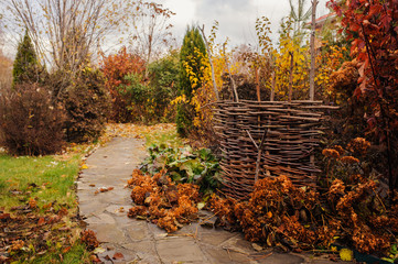 Walking in november garden. Late autumn view with rustic fence and stone pathway