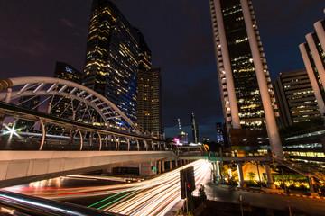 """Sky walk BTS """"Chong Nonsi"""" Bangkok Thailand. - September 28 th 2017 : Niht Light in Bangkok, View Of Chong Nonsi BTS Station at Night"""