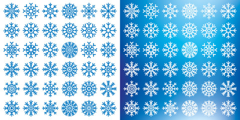 Vector snowflakes set on white and blue mesh background, winter icons silhouette, 36 ice stars, vector elements for your Christmas and New Year holiday design projects