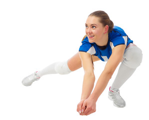 Woman voleyball player isolated (ver without ball)