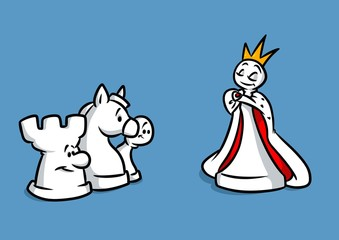 Chess queen figures cartoon illustration