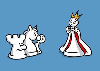 Chess queen figures cartoon illustration