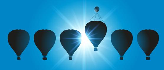 montgolfière - concept - avantage - tricher - doper - dopage - symbole - solution