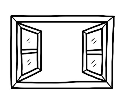 open window / cartoon vector and illustration, black and white, hand drawn, sketch style, isolated on white background.