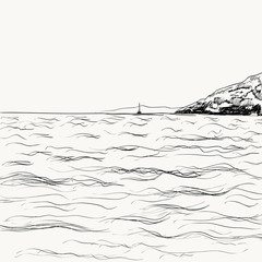 Vector summer seascape sketch. Seaside view and mountain