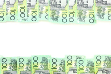 Frame of 100 dollar Australian notes group on white background have copy space for put text