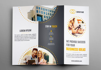 Trifold Brochure Layout with Gray and Orange Accents 1