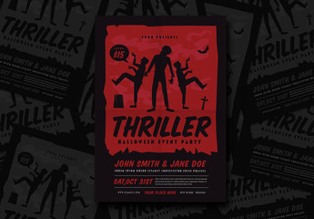Halloween Thriller Party Flyer Layout