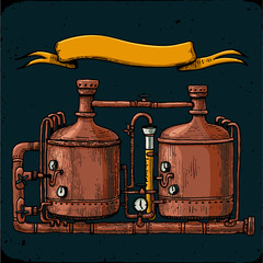 Retro brewery engraving. Copper tanks and barrels in brewery beer. Tanks from brewery factory, craft beer. Vintage vector engraving illustration on dark background. Local brewery. for web, poster