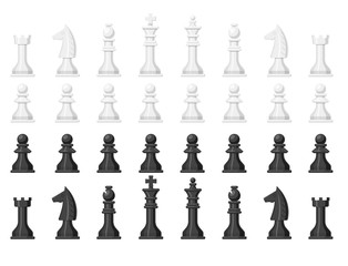 Chess board and chessmen leisure concept knight group white and black piece competition vector illustration