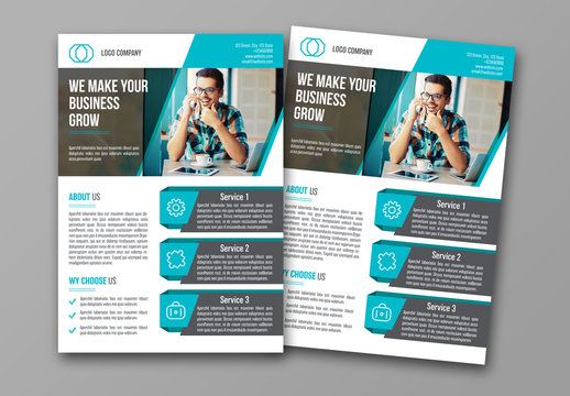 Business Flyer Layout with Teal Accents 1