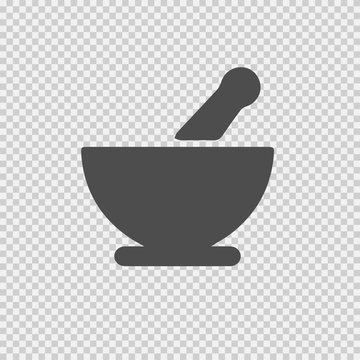 Bowl mortar vector icon eps 10. Simple isolated pictogram.