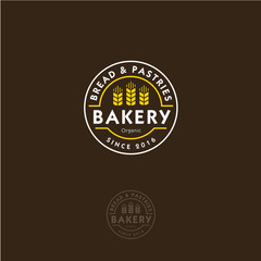 Bakery logo. Bakery emblem. Lettering and spikelets in a circular badge.