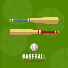 Baseball bat and ball icon, isolated on a green background