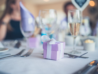 Formal table setting with gifts