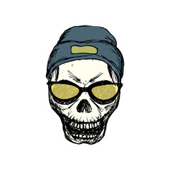Fashion skull with glasses and hat