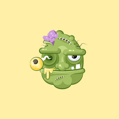 Horrible cartoon head, terrible facial expression of hungry zombie with evil emotion, emoji, sticker for Happy Halloween