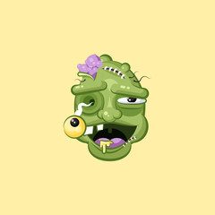 Head, terrible facial expression smiley zombie with laughing emotion, emoji sticker for Happy Halloween