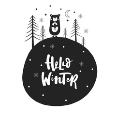 Aluminium Prints Christmas Hand drawn Christmas card in scandinavian style with cute New Year elements and lettering phrase. Vector.