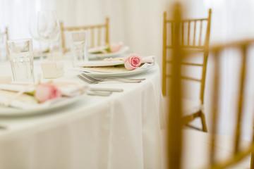 Elegant wedding decoration. Focus on pink rose